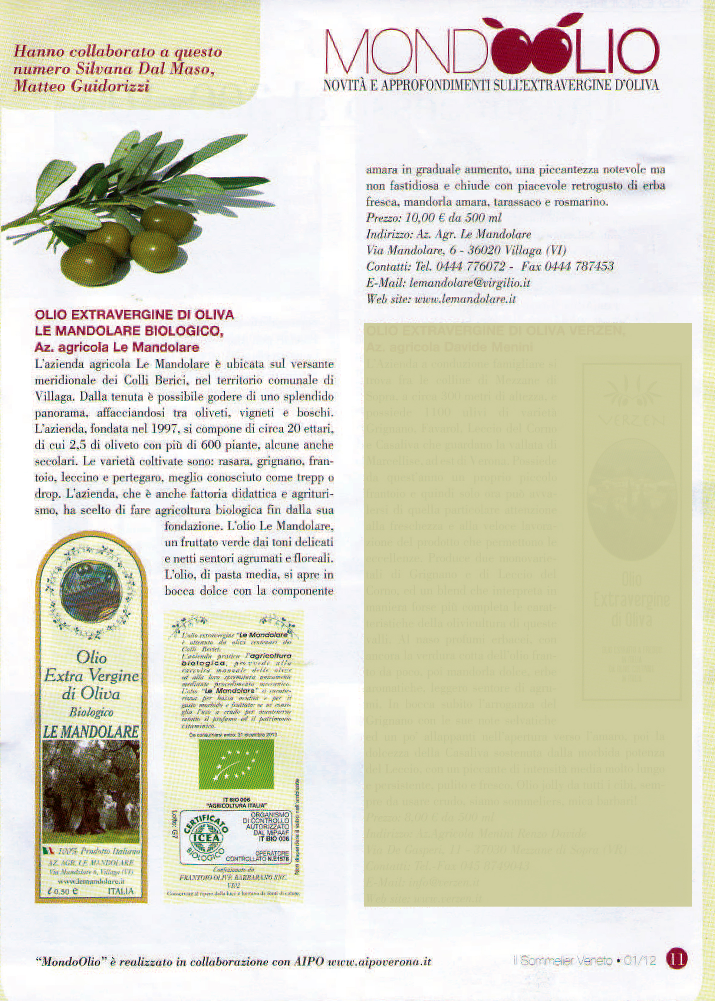 l'articolo sull'olio d'oliva Le Mandolare